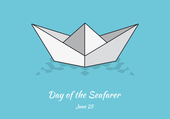 Day of the Seafarer vector. Cartoon paper boat. Folding paper boat. Important day