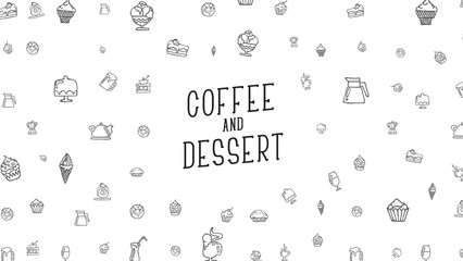 White background with drawings by hand of food, drinks and desserts.