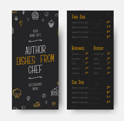 template for the front and back of the narrow menu for a restaurant or cafe.