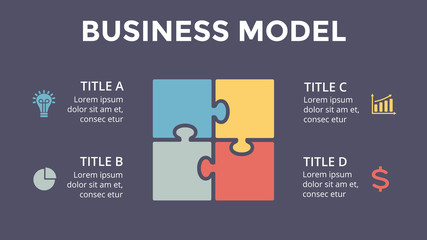 Vector square puzzle infographic, cycle diagram, graph, presentation chart. Business concept with 4 options, parts, steps, processes. 16x9 dark slide template.