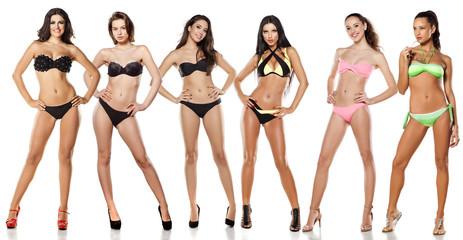 A group of women in a bikini on white background