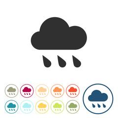 Runde Schaltflächen - Wolke - Regenwolke - Regen