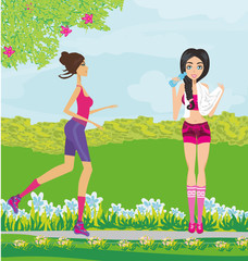 Jogging girls in summer at the park