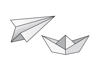 Paper boat vector. Paper airplane vector. Folding paper boat and airplane. Paper model ship and airplane