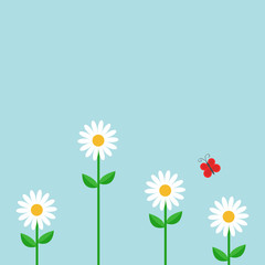 Red butterfly. White daisy chamomile set. Cute growing flower plant. Love card. Camomile icon. Flat design. Blue background. Isolated.