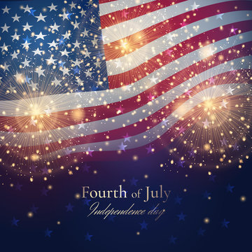 Independence day celebration background with golden fireworks and American flag. Vector festive template for greeting banners and posters for July 4th. File contains clipping mask.