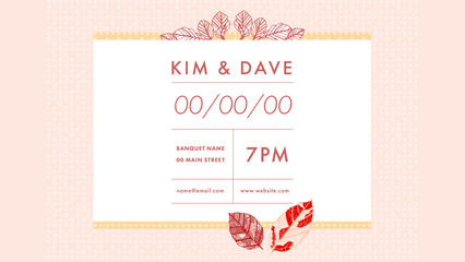 Vector image of invitation card on yellow background