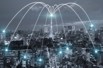 Wifi icon and Tokyo city with network connection concept, Tokyo smart city and wireless communication network, abstract image visual, internet of things.