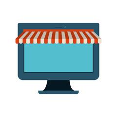 colorful silhouette image of desktop computer online store vector illustration