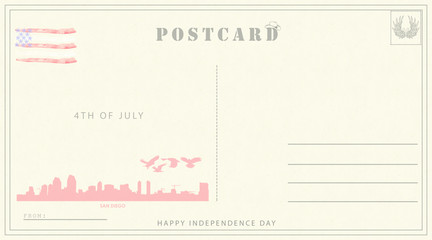 4th of july independence day postcard template. Ready to use independence day retro postal card. Vintage style.
