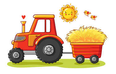 Tractor with a cart. The agricultural machinery transports hay. Vector illustration in a cartoon style.