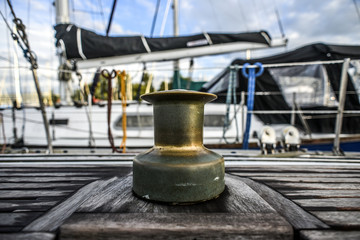 Old capstan on a sailing boat in marine. Szczecin