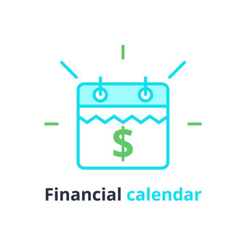 Financial calendar, annual payment day, monthly budget planning, fixed period concept, loan duration