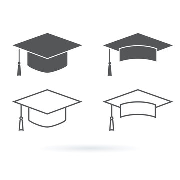 Graduation hat vector icon isolated on white background