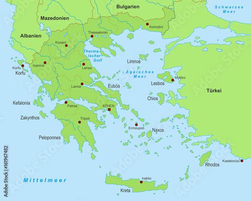 Karte Griechenland.Griechenland Karte Grün Detailliert Stockfotos Und Lizenzfreie