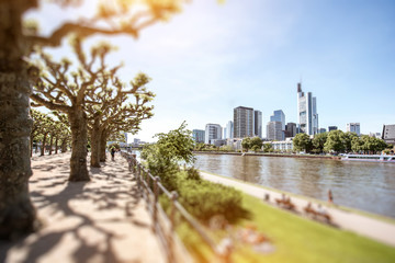 Fototapete - View on the financial district with Main river and park in Frankfurt city, Germany