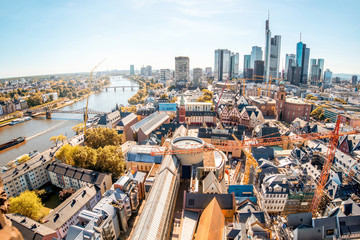 Aerial view on the Frankfurt city with financial district during the day in Germany