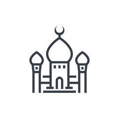 mosque icon, linear style