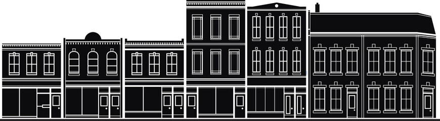 Silhouette illustration of historic buildings on a main street.