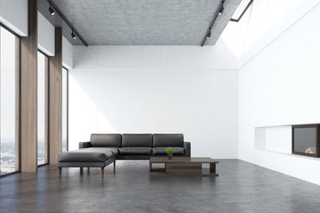 White living room with a sofa, front
