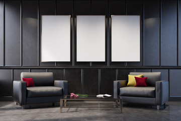 Two gray armchairs in a gray living room