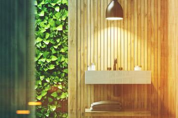 Eco bathroom with sink, wood toned