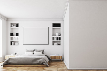 White bedroom interior, poster