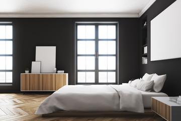 Black bedroom interior, poster, side