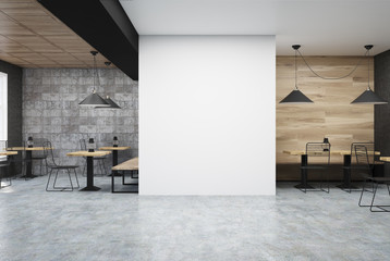 Wooden and dark gray cafe, wall