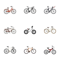 Realistic Old, Road Velocity, Journey Bike And Other Vector Elements. Set Of Bicycle Realistic Symbols Also Includes Balance, Old, Road Objects.