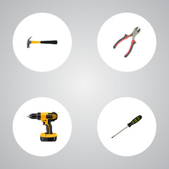 Realistic Carpenter, Claw, Electric Screwdriver And Other Vector Elements. Set Of Tools Realistic Symbols Also Includes Carpenter, Pliers, Forceps Objects.