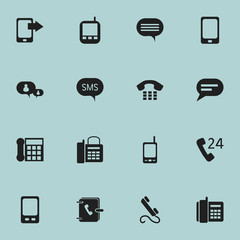 Set Of 16 Editable Device Icons. Includes Symbols Such As Mobile, Phone, Address Notebook And More. Can Be Used For Web, Mobile, UI And Infographic Design.