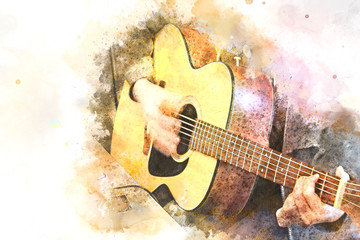 Abstract Guitarist in the foreground. Close up, Watercolor paint