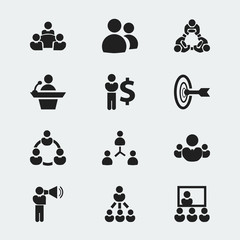 Set Of 12 Editable Cooperation Icons. Includes Symbols Such As Talking Man, Teamwork, Unity And More. Can Be Used For Web, Mobile, UI And Infographic Design.