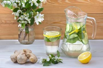 Полезный для здоровья напиток из воды,лимона,имбиря,огурца и листьев малины