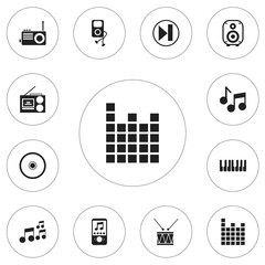 Set Of 12 Editable Multimedia Icons. Includes Symbols Such As Speaker, Octave, Drum And More. Can Be Used For Web, Mobile, UI And Infographic Design.