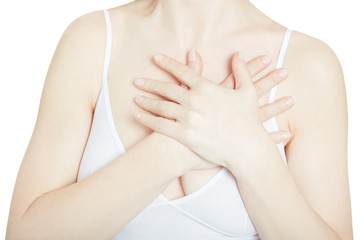 Woman with chest pain, heart attack isolated on white, clipping path
