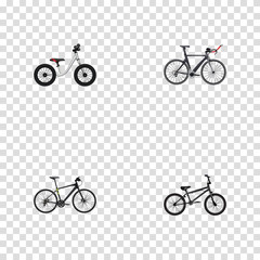 Realistic Extreme Biking, Equilibrium, Competition Bicycle And Other Vector Elements. Set Of Bike Realistic Symbols Also Includes Hybrid, Training, Bike Objects.