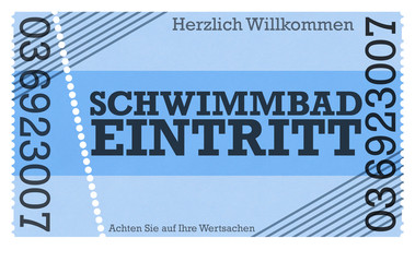 Schwimmbad Ticket / Vintage Design Retro Style Classic Ticket - Ticket Shop - Webshop / Online-Shop /
