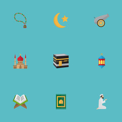 Flat Icons Artillery, Praying Man, Bead And Other Vector Elements. Set Of Religion Flat Icons Symbols Also Includes Mecca, Mekkah, Holy Objects.