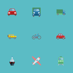 Flat Icons Automobile, Jeep, Bicycle And Other Vector Elements. Set Of Vehicle Flat Icons Symbols Also Includes Boat, Subway, Vessel Objects.