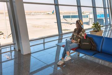 girl in airport terminal