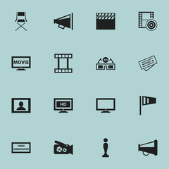 Set Of 16 Editable Movie Icons. Includes Symbols Such As Loudspeaker, Theater Agency, Oscar And More. Can Be Used For Web, Mobile, UI And Infographic Design.