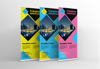 3 Colorful Roll Up Banners 2