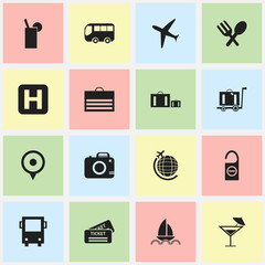 Set Of 16 Editable Journey Icons. Includes Symbols Such As Helipad, Cocktail, Aircraft And More. Can Be Used For Web, Mobile, UI And Infographic Design.