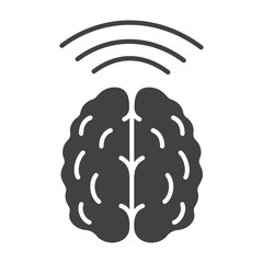 Brain waves glyph icon
