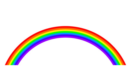 Rainbow illustration on white background. Rainbow bands in the seven main colors of the spectrum. Arc in the colors of visible light. Red, orange, yellow, green, blue, indigo and violet. Vector.
