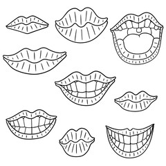 vector set of mouth