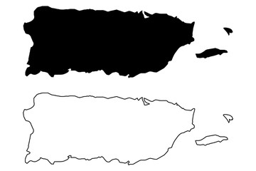 Puerto Rico map vector illustration, scribble sketch  Puerto Rico