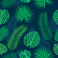Seamless pattern with tropical leaves for textile, wallpapers, gift wrap and scrapbook. Green background. Vector illustration.